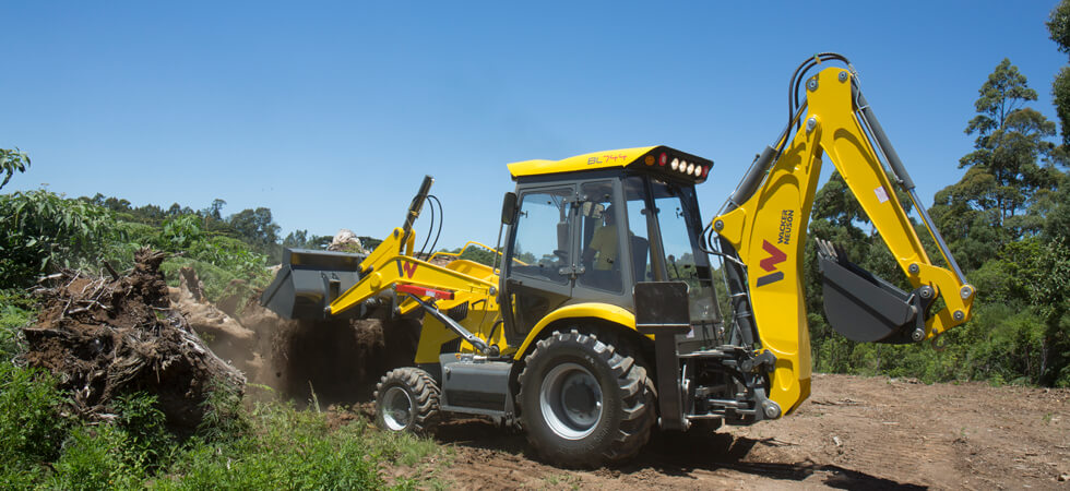 The Wacker Neuson BL744 backhoe loader.